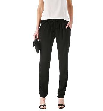 04f9f5fc74c98 Promod Pantalon fluide soyeux Femme Noir 44  Amazon.fr  Vêtements et ...