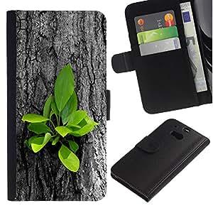 KingStore / Leather Etui en cuir / HTC One M8 / Hermosas Naturaleza Hojas frescas del árbol Crecer