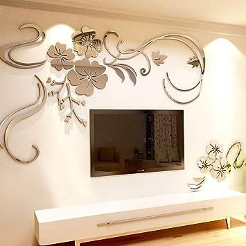 Warmcasa 3d Acryl Wandtattoo Wandaufkleber Spiegel Aufkleber Wand Dekoration Zimmerdeko Wohnzimmer M Silber Amazon De Baumarkt