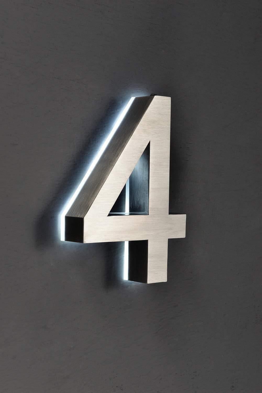 altura 20 cm Plateado N/úmero de casa LED 3D de acero inoxidable V2A sensor crepuscular totalmente autom/ático 220 V con transformador disponible 0 1 2 3 4 5 6 7 8 9 a b c d