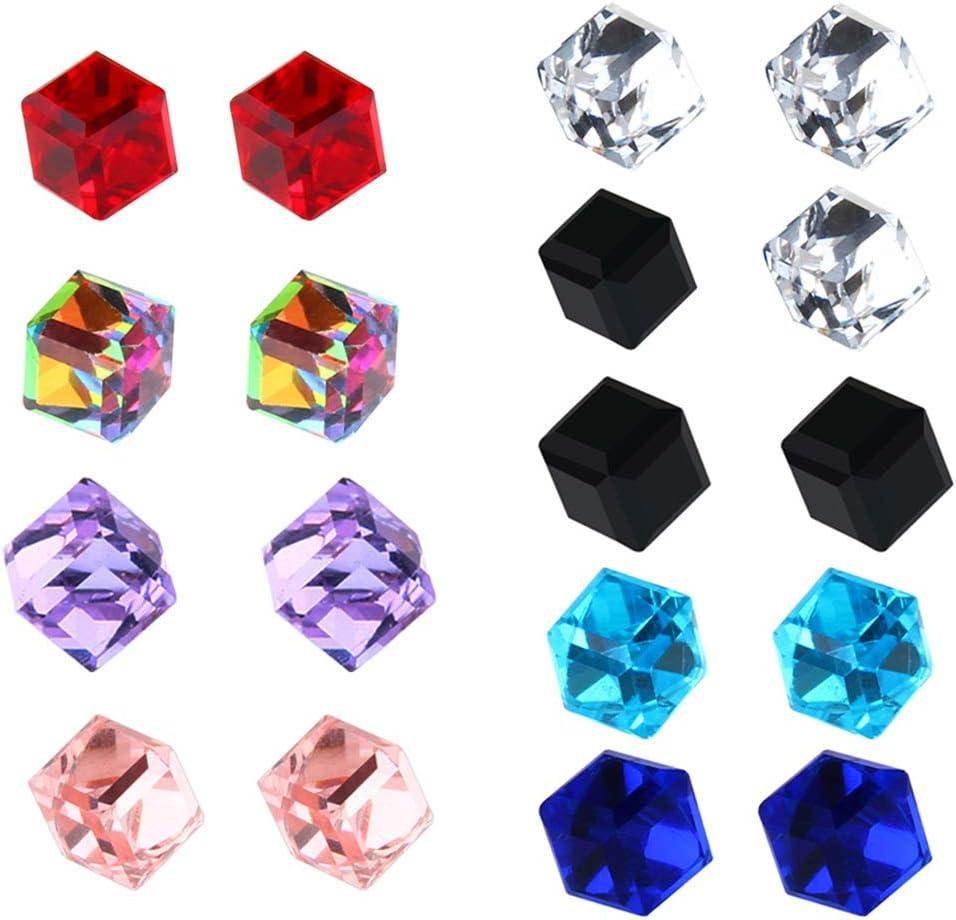 Pendientes Mujer 9pcs Pendientes Magnéticos De Cristal Cubo De Agua Imán De La Salud Diamante No Perforado Ear Stud Aretes para Mujer