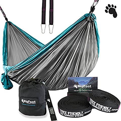 BigFoot Outdoor Double Tree Hammock Suspension System - w/ XL Straps - 34 Loops Total - Over 10.6 feet Long - 6.6 feet wide - 4 Steel Carabiners + Strap Carrying Pouch (Bigfoot Products)