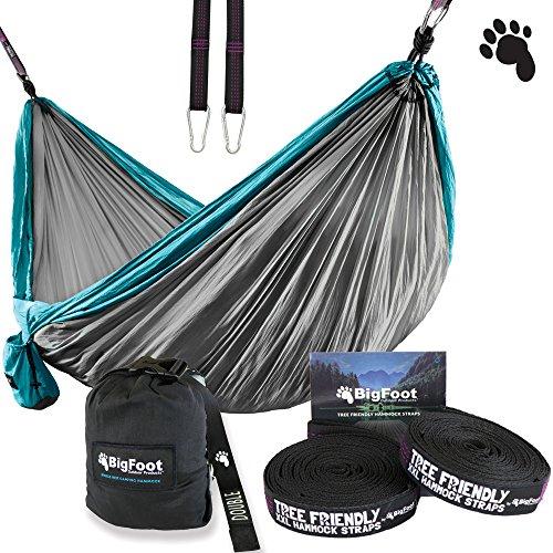 bigfoot outdoor double tree hammock suspension system   w  xl straps   34 loops total   over 10 6 feet long   6 6 feet wide   4 steel carabiners   strap     backpacker hammock  amazon    rh   amazon