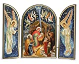 Catholic Orthodox Wood Nativity Scene Triptych Russian Icon Christ Virgin Mary Nativity of Christ 7 1/2 Inch