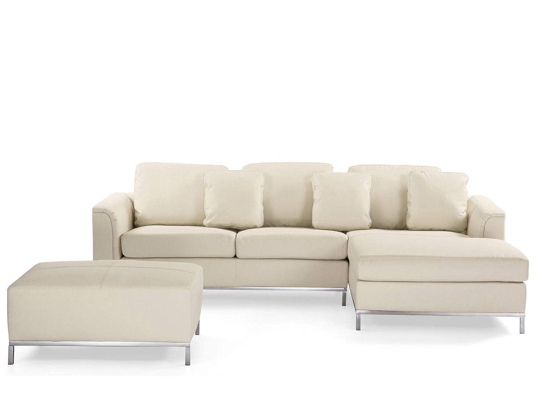 Beliani Piel Sofá Beige - Rinconera/Esquina Couch L - Piel Sofá ...