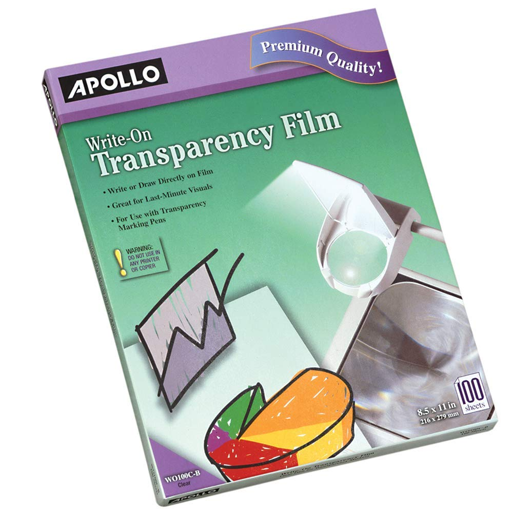 Apollo Transparency Film, Write-On, Clear, 100 Sheets/Pack (VWO100C-BE)