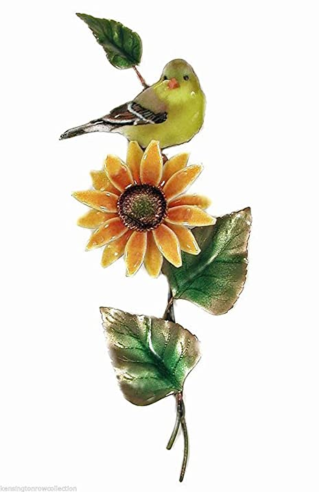 Amazon.com: WALL ART - GOLDFINCH ATOP BLOSSOMING SUNFLOWER METAL ...