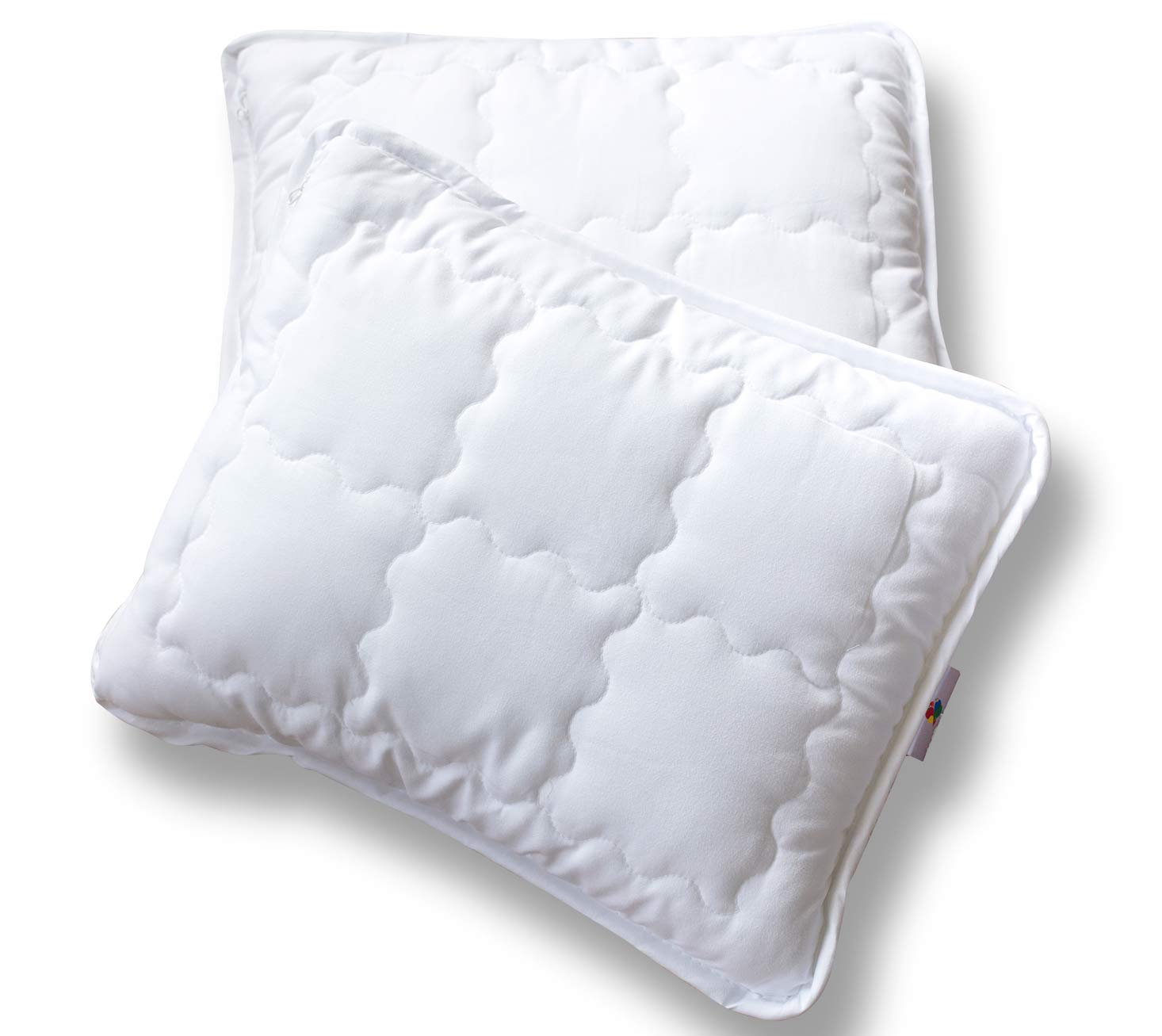 Mabel Home Kids Baby Toddler Pillow with Zipper Washable Pillowcase White,14x18