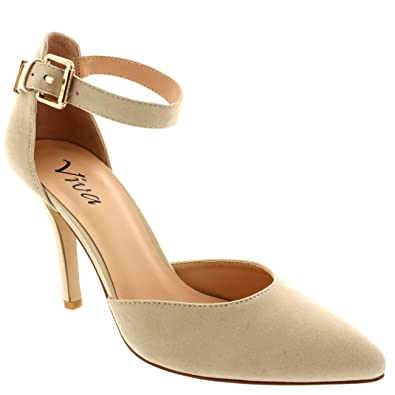 26eee42bd1d Viva Womens Ankle Strap Low Mid Heel Office Work Court Shoes Pointed Toe  Suede - Nude