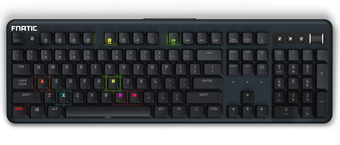 Fnatic STREAK Teclado mecánico para juegos Esports (interruptores Cherry MX marrón, iluminación RGB multicolor, reposamuñecas ergonómico, ...