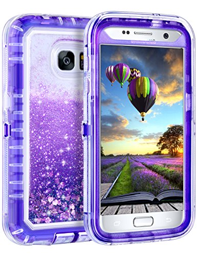 Coolden Case for Galaxy S7 Case Protective Glitter Case for Women Girls Cute Bling Sparkle 3D Quicksand Heavy Duty Hard Shell Shockproof TPU Case for Samsung Galaxy S7, Purple -