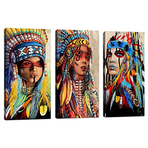 (VIIVEI Indian Girl Chief Native American Canvas Wall Art Feathered Women Prints Gifts Home Decor Decals for Bedroom Waterproof Posters Pictures Paintings Framed Ready to Hang (10
