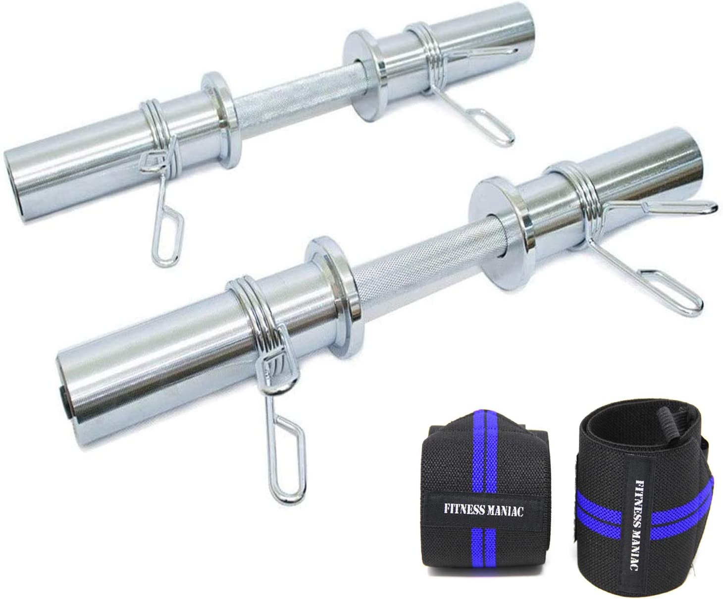 FITNESS MANIAC Heavy Duty Barbell 20 Inch Olympic Dumbbell Handle Pair Solid Steel Two Handles