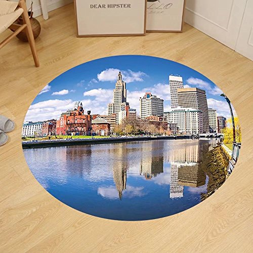Gzhihine Custom round floor mat United States Providence Rhode Island Riverfront Spring Season Water Reflection Buildings Bedroom Living Room Dorm - Providence Outlet