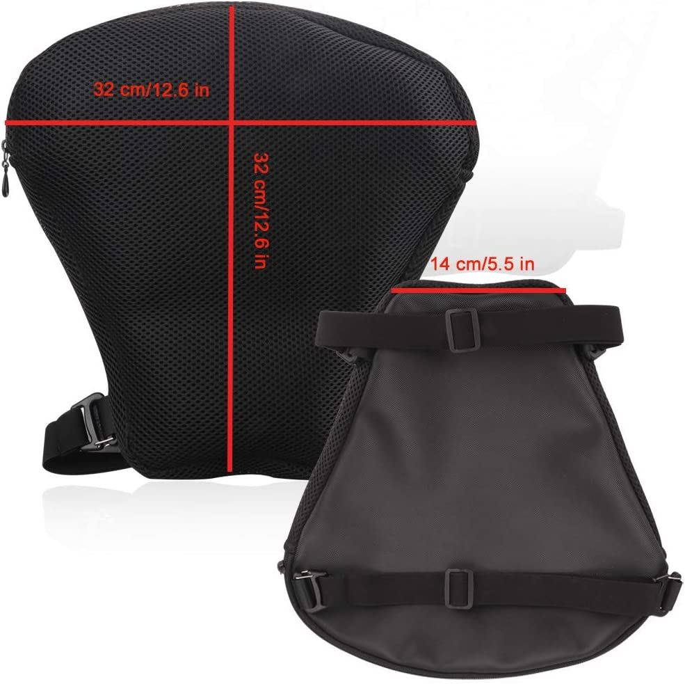 LKV Air Motorcycle Seat Cushion Pressure Relief Ride Cruiser Touring Saddles with Inflatable Airbag Pad for Universal Motorcycle