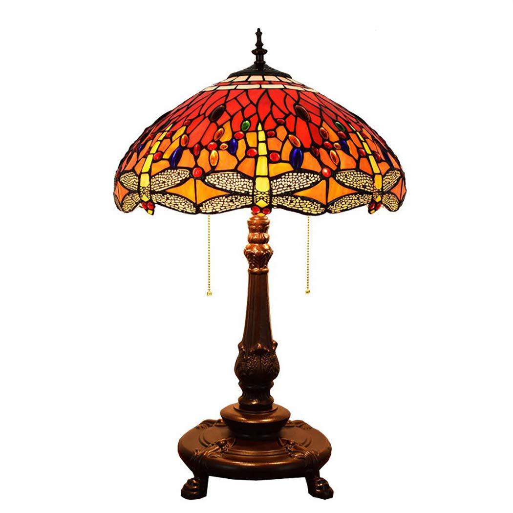 18インチのビンテージレッドティファニースタイルのテーブルランプ、E27、ベッドルームのベッドサイドテーブルのランプ、ステンドグラスのライト   B07RQL6F9Q