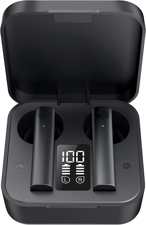 HAYWYRE J13 - Auriculares Bluetooth 5.0 con control táctil y carcasa con indicador de carga. Sistema de graves profundos. Más de 3 horas de escucha o llamada.