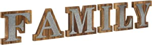 MyGift Rustic Dark Brown Solid Wood & Galvanized Silver Metal Family Decorative Sign Letters, Wall Mounted or Tabletop Display