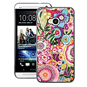 A-type Arte & diseño plástico duro Fundas Cover Cubre Hard Case Cover para HTC One M7 (Summer Flowers Spring Pink Yellow)