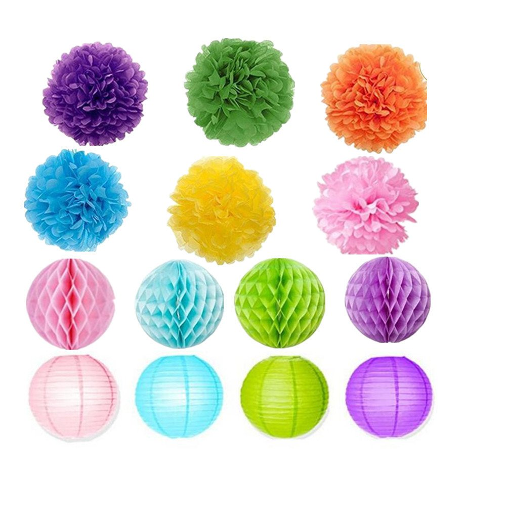 20Pcs Fiesta Party Decorations Tissue Paper Pom Poms Flowers Paper Honeycomb Balls Rainbow Party Fans Hanging Pom Decoration Set for Wedding, Birthday, Baby Shower, Carnivals, Nursery, Playroom Décor