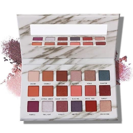 MAGEFY Eyeshadow Palette Professional 18 Pigmented Eye Shadow, 9 Matte + 9 Shimmer,Blendable Long Lasting Red Brown Metallic Glitter Eyeshadow Makeup Palette