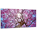Pyradecor Cherry Blossom Tree Large Modern Floral Giclee Canvas Prints on Stretched Landscape Canvas Wall Art Spring Pink Flowers Pictures Paintings Artwork for Living Room Bedroom Home Decorations L