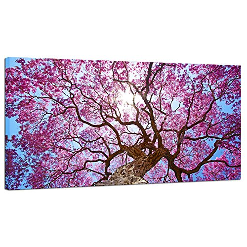 Pyradecor Cherry Blossom Tree Large Modern Floral Giclee Canvas Prints on Stretched Landscape Canvas Wall Art Spring Pink Flowers Pictures Paintings Artwork for Living Room Bedroom Home Decorations L ()