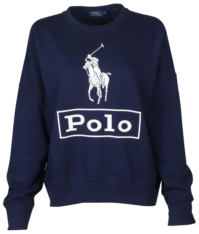 Polo RL Womens Relaxed Crewneck Graphic Pony Logo Sweatshirt