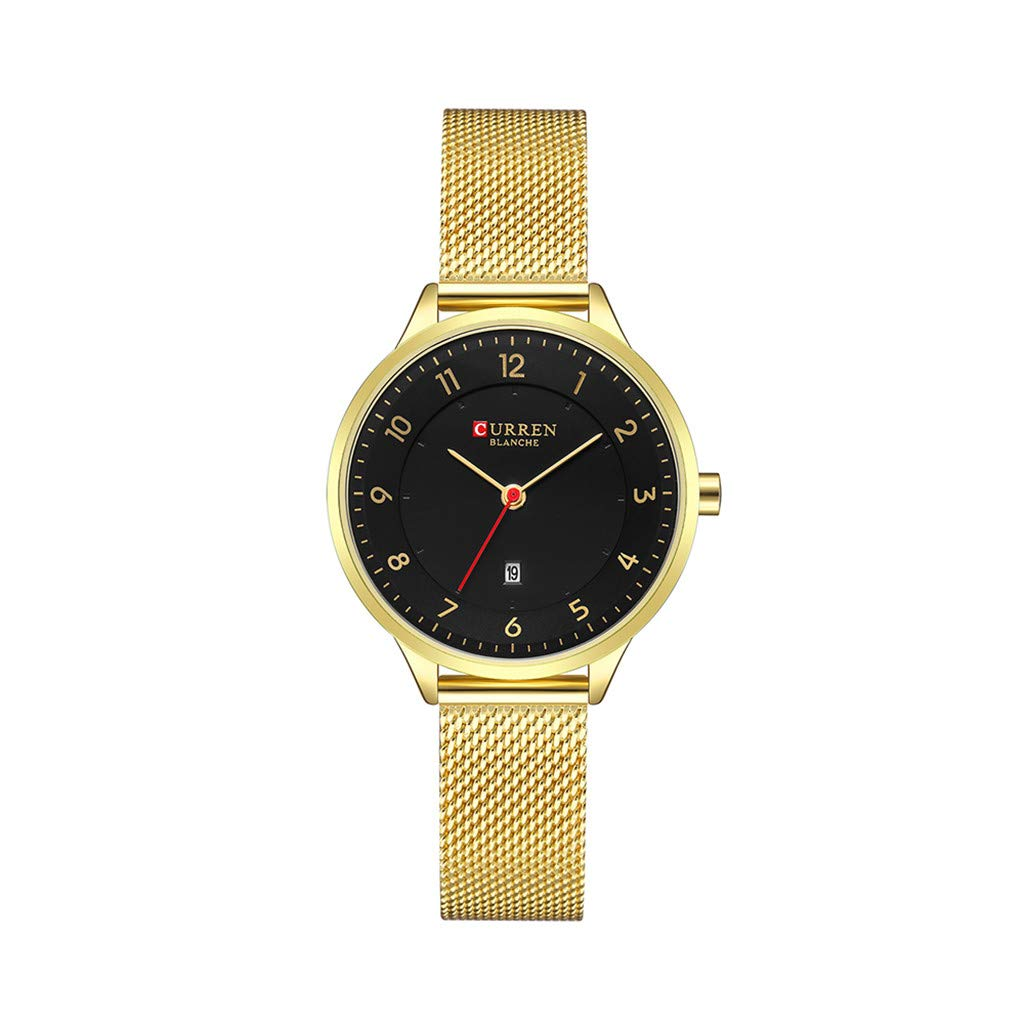 Women Watches for Sale,Small Dial Ladies Waterproof Watch Ultra Thin Calendar Quartz Mesh Belt Watch(Black) by Woaills Watch