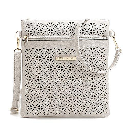 Medium Crossover (Duketea Medium Crossbody Purse for Women, Triple Zipper Crossover Shoulder Bag Gray)