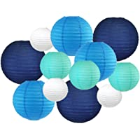 Just Artifacts Decorative Round Chinese Paper Lanterns 12pcs Assorted Sizes & Colors (Color: Blue/White)