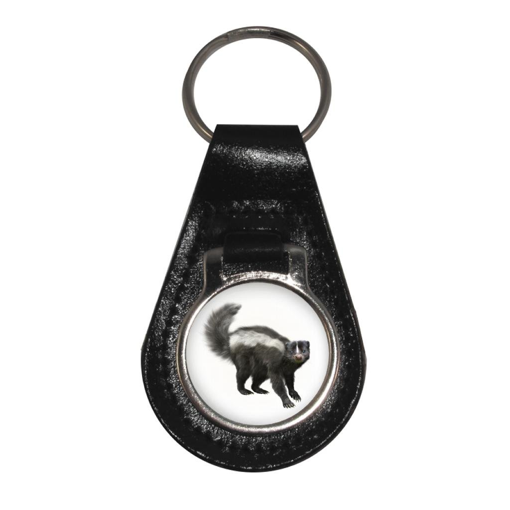 Skunk Image Black Leather Keyring in Gift Box