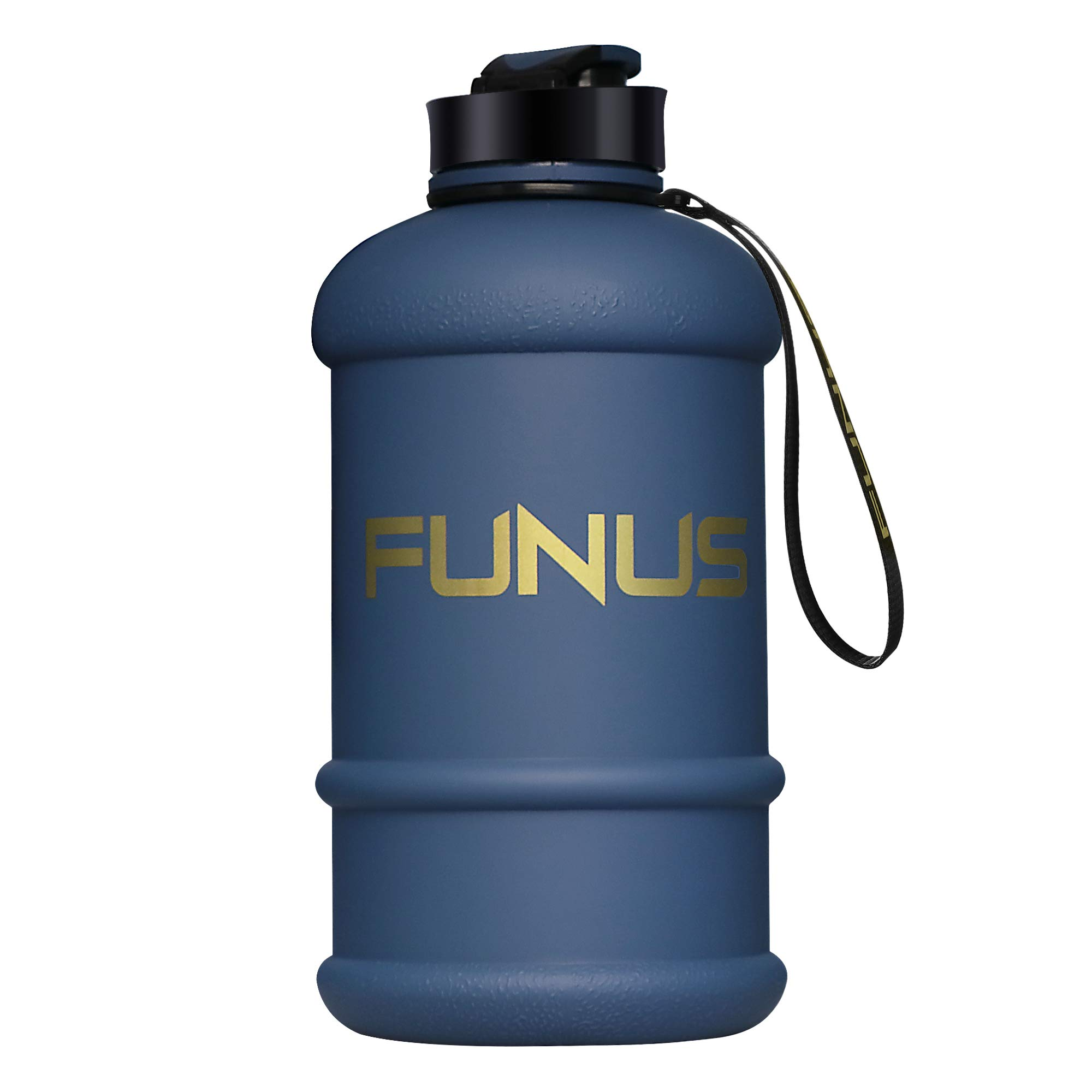 FUNUS Big Water Bottle 1.3L-2.2L Odorless Water Jug BPA Free Leak Proof Reusable Big Capacity for Men Women Fitness Gym Outdoor Climbing (1.3L Navy Blue) by FUNUS