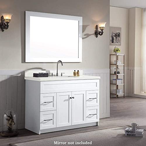 ARIEL Single Sink Bathroom Vanity Cabinet in White Pure White Quartz Counter-top 2 Soft Closing Doors 4 full Extension Dovetail Drawers Built in Toe Kick No Mirror 49 x 22 x 35