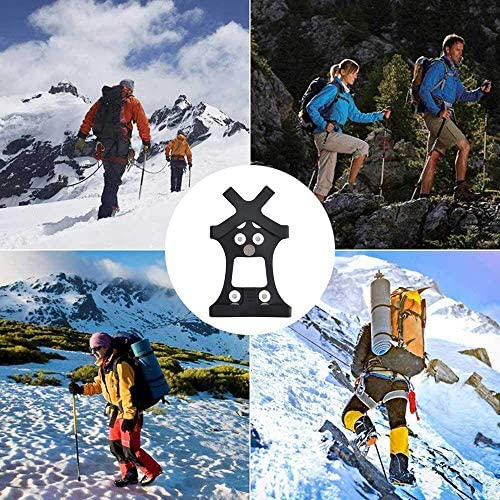 1 Perpetual Deals Crampons, Ice Cleats Microspikes Traction Snow Grips Anti Slip Spikes for Boots Shoes for Snowing Hiking Fishing Walking Climbing Mountaineering