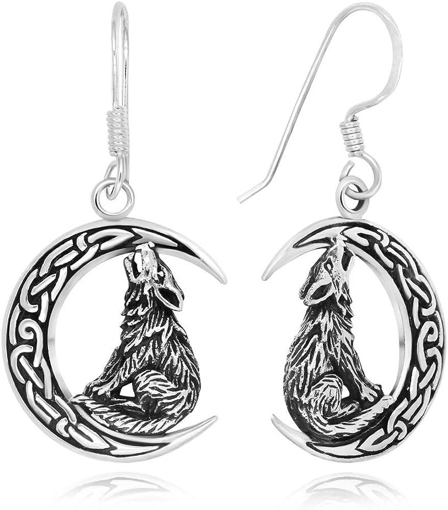 925 Sterling Silver Celtic Crescent Moon Wolf Dangle Earrings