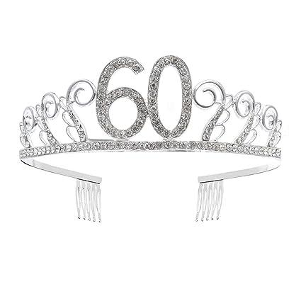 Beaupretty Tiara Cristal Cumpleaños 60 Años Corona Princesa ...