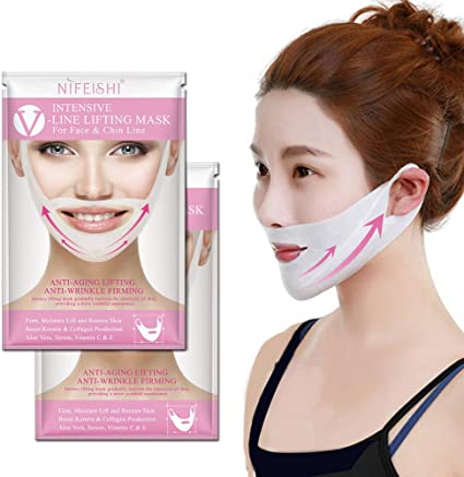 NIFEISHI V Line Lifting Mask (2 Pack) Chin Up Patch V Shape Face Lifting, Double Chin
