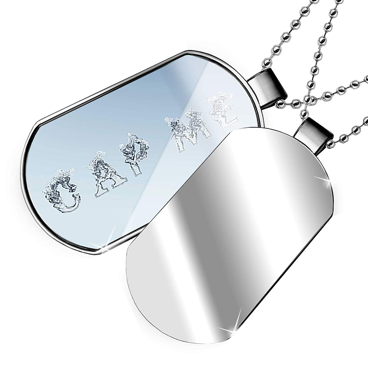 NEONBLOND Personalized Name Engraved Cap Me Clear Water Yoga Dogtag Necklace