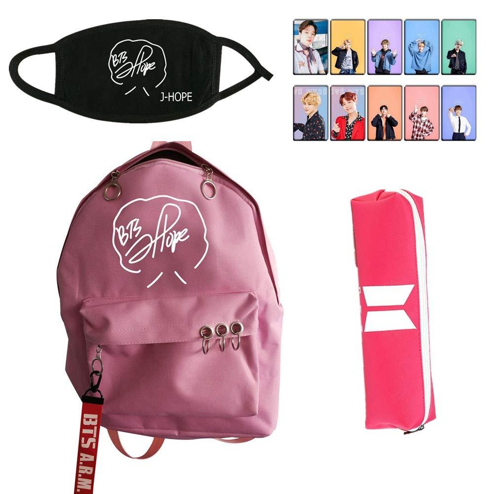 Youyouchard BTS Bangtan Boys Stationery Series Pink Cool - BTS Waterproof Backpack + BTS Signature Mask + BTS Bag + BTS photocard Sticker - Start Your Cool Travel(J-Hope)