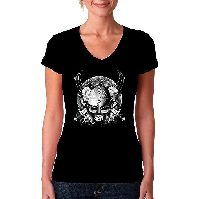 En - Camiseta Vikingo Calavera con guerrero gekeuzten schwertern Cooles FUN Girlie camiseta - Varios colores: Amazon.es: Ropa y accesorios