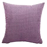 M MOCHOHOME Corduroy Decorative Solid Square Throw Pillow Cover Case Pillowcase Cushion Sham - 24'' x 16'', Purple