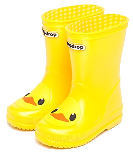 4fe476685dc95b D.S.mor Toddler Little Kid Yellow Frosted Duck Soft Rubber Rain Boots  Anti-Slip Rain Shoes