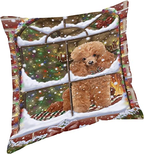 Please Come Home For Christmas Bernedoodle Throw Pillow 14x14