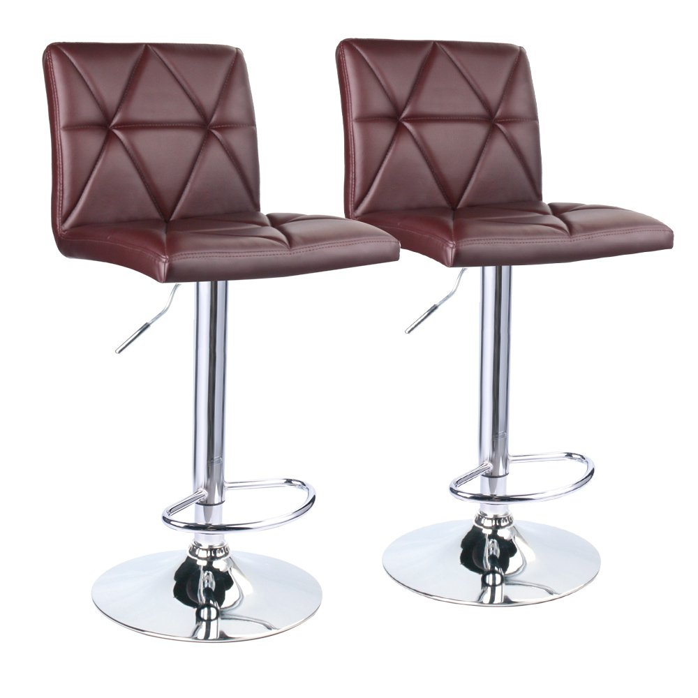 Leader Accessories Bar Stool, Hydraulic Square Back Diagonal Line Adjustable Bar Stools, Set of 2 (Brown) by Leader Accessories
