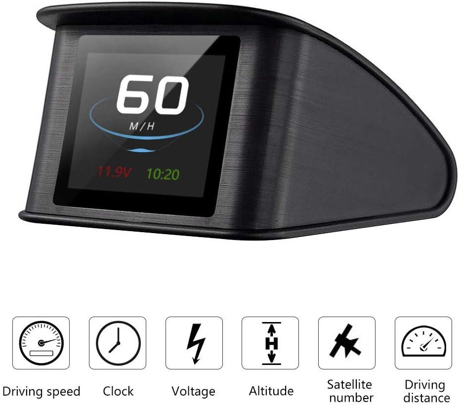 Powcan Auto Car HUD Head Up Display KMH/MPH GPS digital velocímetro inteligente con advertencia de voltímetro de alarma de sobrevelocidad, pantalla LCD TFT de 2.2 ''