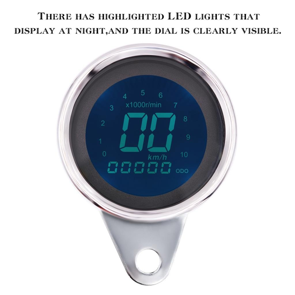 MagiDeal Motorcycle Highlighted Digital LED LCD Backlight Speedometer/Odometer/Techometer/Oil Gauge 12V non-brand