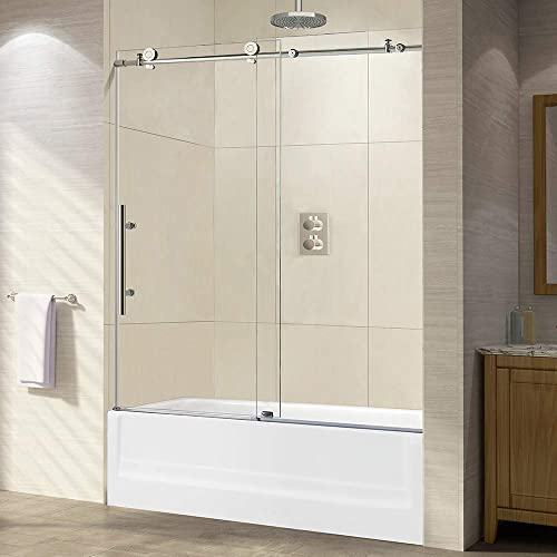 WOODBRIDGE Frameless Sliding Shower, 56 -60 Width, 62 Height, 3 8 10 mm Clear Tempered Glass, Finish, Designed for Smooth Door Closing. MBSDC6062-C, C-Series 60 x62 Chrome