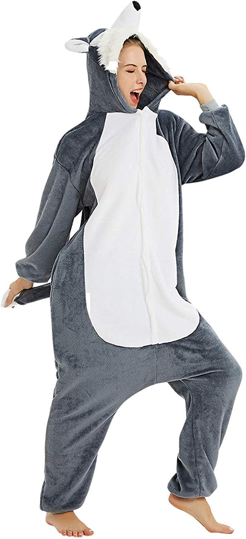 ABYED Adulte Unisexe Anime Animal Costume Cosplay Combinaison Pyjama Outfit Nuit Vetements Onesie Fleece Halloween Costume Soiree de Deguisements