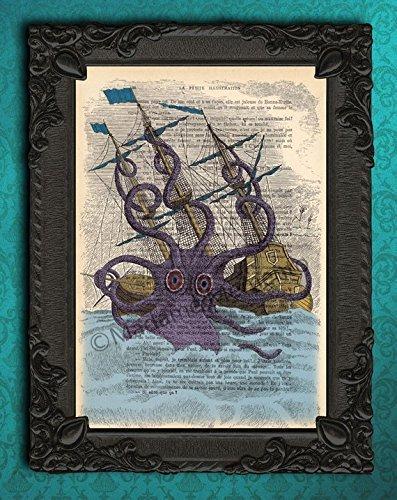 Giant sea monster poster, large octopus wall art print, kraken decorations (Sea Monster Art)